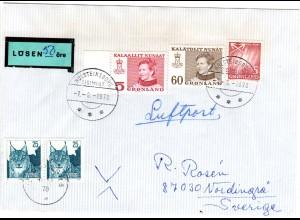Grönland 1978, 3 Marken auf Lösen-Brief m. Schweden 2x25 öre als Portomarken