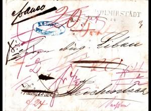 Preussen 1847, L2 WOLMIRSTÄDT auf Porto-/Franko-Brief zweimal n. Sachsen