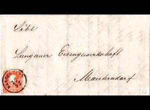Österreich 1860, 5 Kr. auf schönem Brief m. K1 KLAGENFURT n. Mauterndorf.