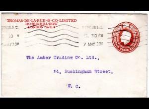 GB 1920, 1 1/2d Ganzsachenumschlag m. Zudruck Thomas De La Rue & Co. London