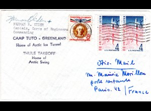 Grönland 1971, Camp Tuto Arctic Ice Tunnel Brief m. 3 US Marken per Luftpost