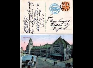 Frankreich, Metz Bahnhof, 1916 gebr. Farb-AK m. Zensur