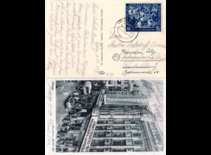 1949, 50+25 Pf. Leipziger Messe auf sw-AK m. Messehaus Speckshof
