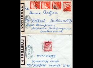 Österreich 1948, MeF 5x20 G. vorder- u. rücks. auf Zensur Brief v. Seefeld
