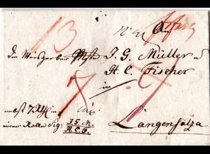 Preussen 1815, hds. Frankfurt (Oder) auf Paketbrief n. Langensalza
