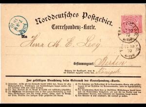 NDP 1870, 1 Gr. auf Correspondenz-Karte v. K1 FRANKFURT A.O.