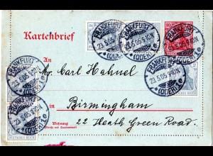 DR 1905, 5x2 Pf. Zusatzfr. auf 10 Pf. Kartenbrief v. Frankfurt Oder n. GB