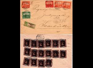 Saargebiet 1926, Massenfrankatur v. 21 Marken auf Reko Brief v. Neunkirchen