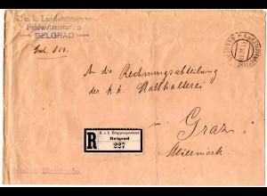Österreich 1917, Etappenpostamt Belgrad Reko Brief Lufttruppen Feldwetterstation