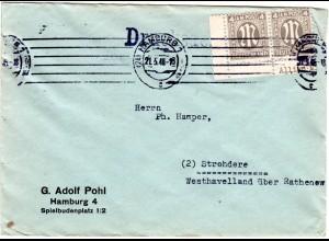 1946, MeF Eckrandpaar 4 Pf. auf Drucksache Brief v. Hamburg. (Kat. 280.-€)