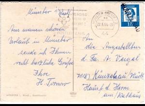BRD 1964, L1 KÜNZELSAU, Nachentwertung auf AK m. 15 Pf. v. Münster