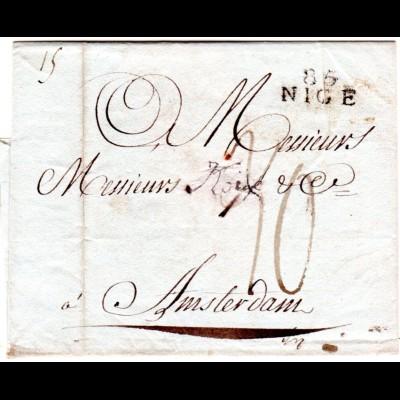 Frankreich 1811, 85 NICE auf Porto Brief n. Amsterdam, Niederlande