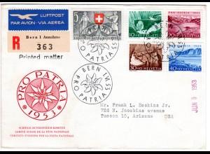 Schweiz, FDC Pro Patria 1953 per Einschreiben Luftpost v. Bern n. USA