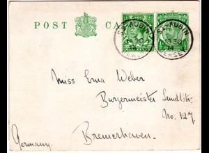 GB 1914, 1/2d Zusatzfr. auf 1/2d Ganzsache v. ST.-Aubin JERSEY n. Bremerhaven