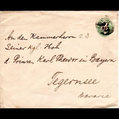 GB, 1/2d Privat Ganzsache Brief an Prinz Karl Theodor in Tegernsee, Bayern