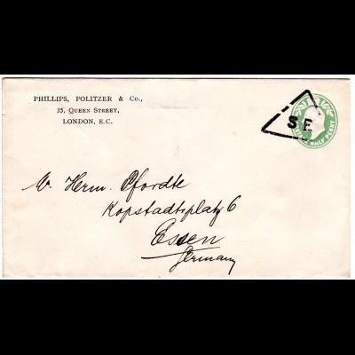 GB, 1/2d Privat Ganzsache Brief m. SE Drucksachen Stempel n. Deutschland