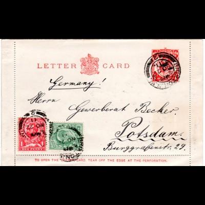 GB 1911, 1/2+1d Zusatzfr. auf 1d Ganzsache Kartenbrief v. BRIXTON n. Deutschland