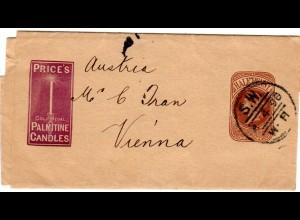 GB 1896, 1/2d Streifband Ganzsache m. Reklame Abb. Kerze v. London n. Österreich