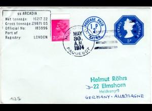 GB 1974, Honolulu PAQUEBOT u. R6 SS ARCADIA auf Hawaii Schiffspost Brief
