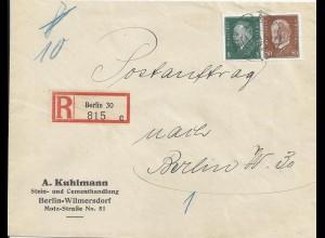 DR 1933, 58 Pf Orts Einschreiben Postauftrag Brief v. Berlin. Portorichtig! #364