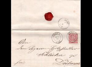 NDP 1871, K2 AHAUS klar auf Brief m. 1 Gr. n. Dülmen