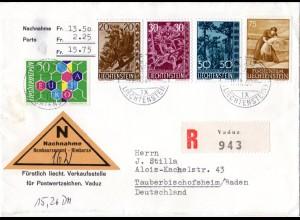 Liechtenstein 1969, FDC Bäume zus. m. Europamarke u. 75 C. auf Reko NN Brief