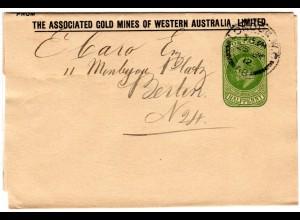GB 1912, 1/2d Streifband Ganzsache v. London m. Zudruck Gold Mines