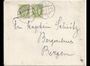 """Norwegen 1922, MeF 20 öre auf Brief Stpl. """"KRISTIANIA MJ."""". #1411"""