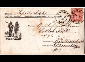 NDP 1870, 1 Gr. auf Militär Umschlag Wendebrief v. K2 TORGAU