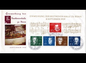 BRD 1959, Beethoven Block auf schönem FDC