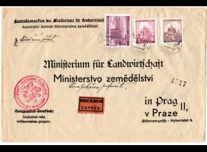 Böhmen u. Mähren 1941, 1+1,20+3 K. auf Ministeriums Express Brief v. MALESOV
