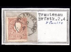 Österreich, 10 Kr. auf schönem Briefstück m. Böhmen-K1 TRAUTENAU