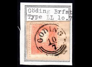 Österreich, 5 Kr. auf schönem Briefstück m. Mähren-K1 GÖDING (heute Hodonin)