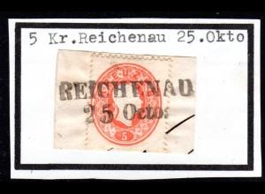 Österreich, 5 Kr. auf schönem Briefstück m. Böhmen-L2 REICHENAU