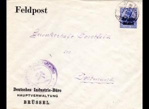 Belgien 1917, 20 C. auf Brief v. Brüssel an die Gewerkschaft Dorstfeld Dortmund