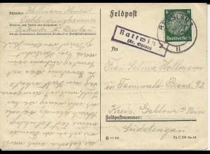 DR 1941, Landpost Stpl. Rattwitz 2 (Kr. Ohlau) auf Karte m. Stpl. Breslau. #677