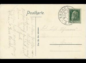 Bayern 1911, Bahnpost K2 Ebrach - Bamberg Zug 32 auf AK m. 5 Pf. #1229