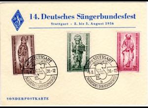 BRD 1956, Stuttgart 14. Dt. Sängerbundfest auf Ereigniskarte m. 3 Berlin Marken