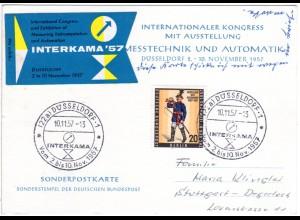 BRD 1957, Sonder Stpl. INTERKAMA Düsseldorf auf Ereigniskarte m. Berlin Marke