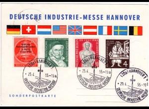 BRD 1955, Sonder Stpl. Dt. Industriemesse Hannover auf Ereigniskarte m. 4 Marken