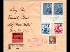 """Böhmen und Mähren 1942, 5 Marken auf Reko-Eilboten Brief m. Nachgebühr """"60"""""""