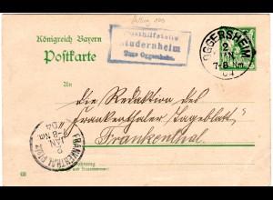 Bayern 1904, Posthilfstelle STUDERNHEIM Taxe Oggersheim auf 5 Pf. Ganzsache