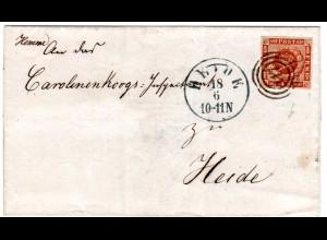 Dänemark, alls. breitrandige 4 SK. auf Orts Brief m. Nr.-Stpl. 117 HEIDE