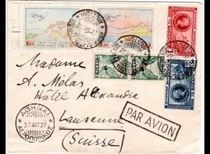 Griechenland 1927, 2 Flug- u. 4 Briefmarken auf Luftpost Brief i.d. Schweiz