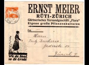Schweiz 1921, 5 C. Privat Ganzsache Streifband m. Gärtnerei Abb. v. RÜTI