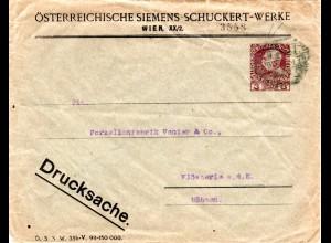 Österreich, gebr. 3 H. Privat Ganzsache Umschlag Siemens-Schuckert-Werke Wien