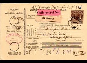 Rumänien 1916, 10 B. Paketkarte m. R1 FRANCO v. Bucuresti i.d. Türkei