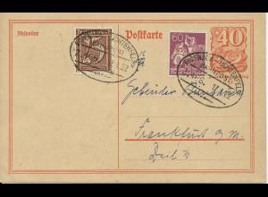 DR 1922, Ganzsache Karte v. Coburg m. Bahnpost Stpl. Eisenach Lichtenfels. #300