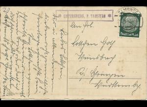 Österreich DR 1940, Posthilfstelle Unternberg P. Tamsweg auf Karte m. 6 Pf. #170
