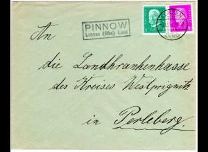 DR 1931, PINNOW Lenzen (Elbe) Land, Landpost Stpl. auf Brief m. 5+10 Pf.